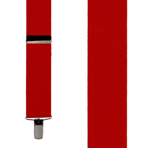 Front View - 1.5 Inch Wide Clip Suspenders - RED