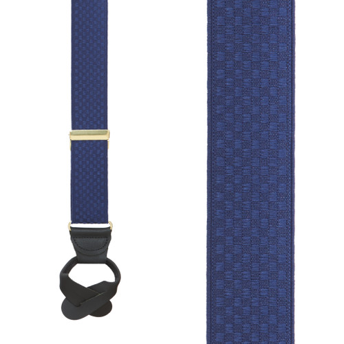 Navy Jacquard Checkered Suspenders - Button - Front View