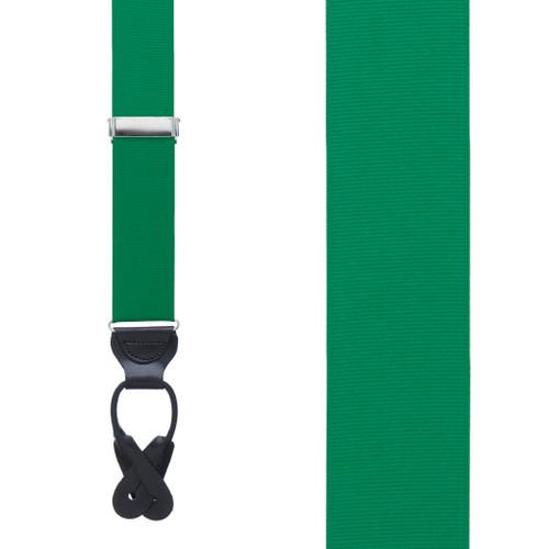Grosgrain Suspenders in Kelly Green - Front View