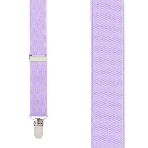 1 Inch Wide Clip Y-Back Suspenders in Lavender - Front View