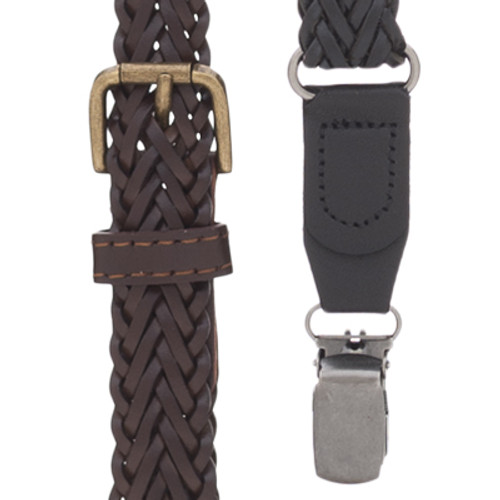 Herringbone Braided Leather Suspenders - All Colors
