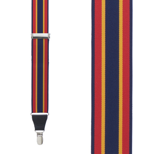 Grosgrain Clip Suspenders - Red Yellow Navy Stripe Front View