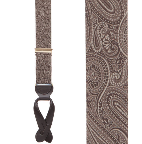 Brown Paisley Silk Suspenders - Button - Front View