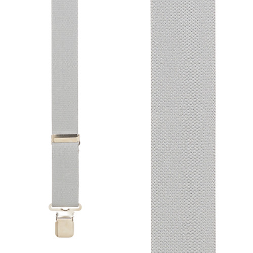 Front View - 1.5 Inch Wide Construction Clip Suspenders - LIGHT GREY