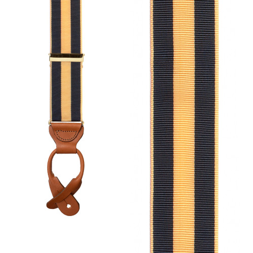Striped Grosgrain Button Suspenders in Navy & Gold - Front View