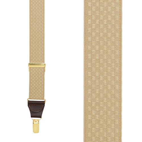 Tan Jacquard Suspenders - Checkers Clip - Front View