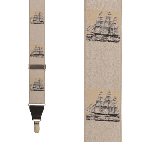 Vintage Ribbon Prior Sail Suspenders - CLIP - Front View