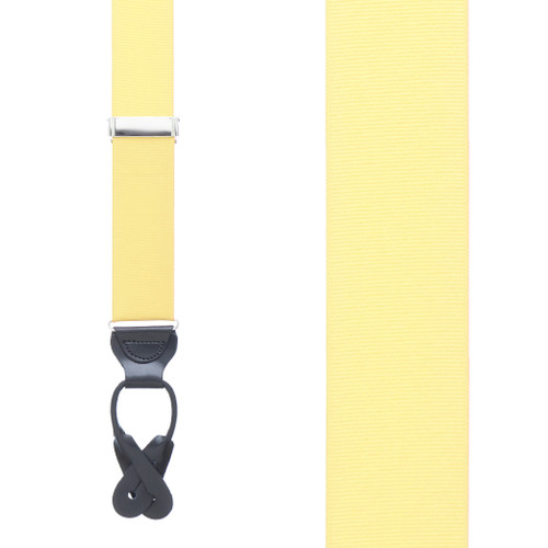 Grosgrain Button Suspenders - Light Yellow Front View