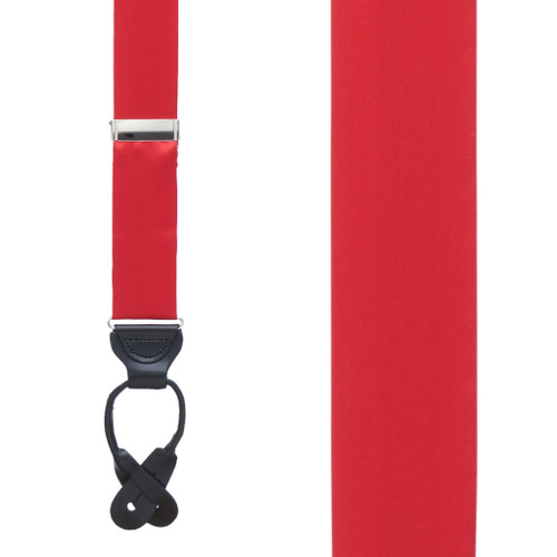 RED Bangkok Silk Suspenders - Button - Front View