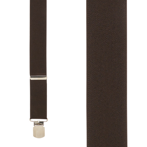 2-Inch Wide Pin Clip Suspenders in Brown - Front View