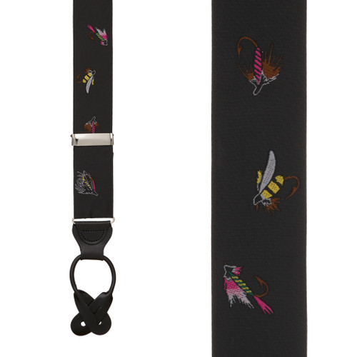 Black Fly Fishing Suspenders - Front View