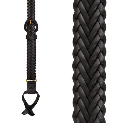 Geoffrey Beene Braided Leather Button Suspenders - BLACK