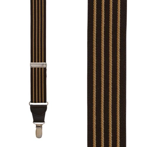Pinstripe Elastic Suspenders in Brown - Front View