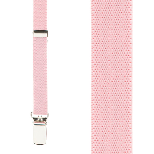 Skinny Suspenders in Light Pink - Front View