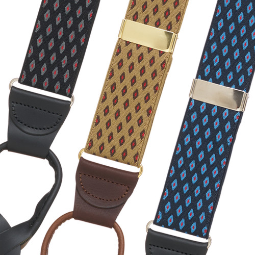 Jacquard Diamond Burst Suspenders - Button - Front View All Colors