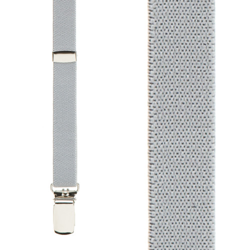 Skinny Suspenders in Light Grey - Front View