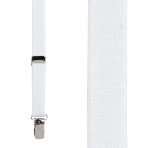 Thin Suspenders in White - Front View