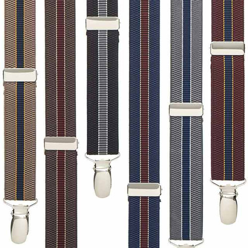 1 Inch Wide Striped Suspenders - All Colors