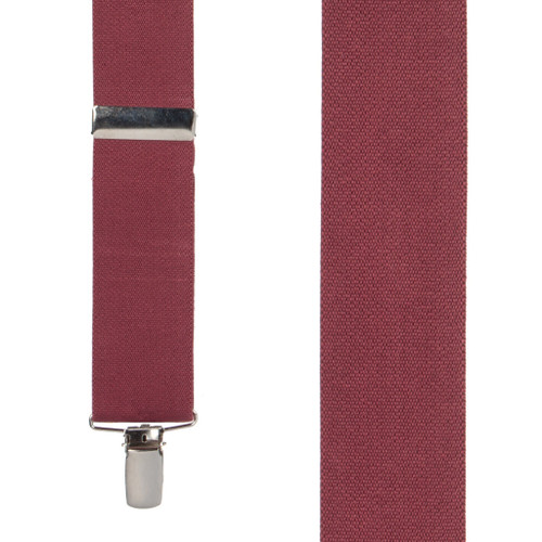 Front View - 1.5 Inch Wide Clip Suspenders - BURGUNDY