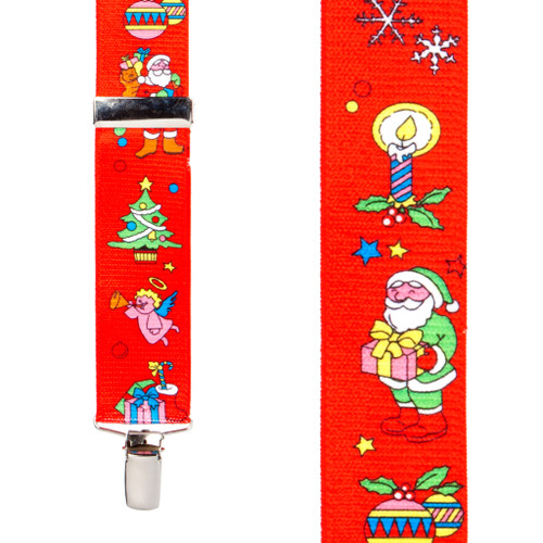 Santa on Red Suspenders - Front View