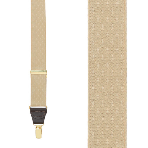 Tan Jacquard Suspenders - Petite Diamonds Clip - Front View