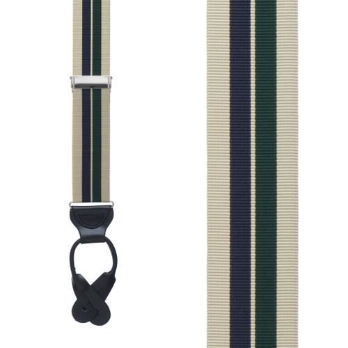 Grosgrain Suspenders in Khaki Hunter Navy Stripes - Front View