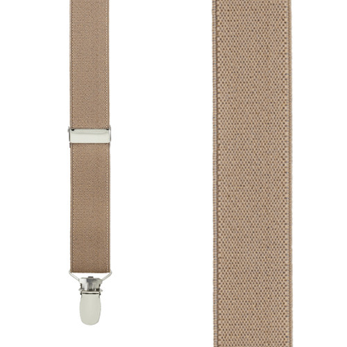 1 Inch Wide Clip Y-Back Suspenders in Taupe - Front View