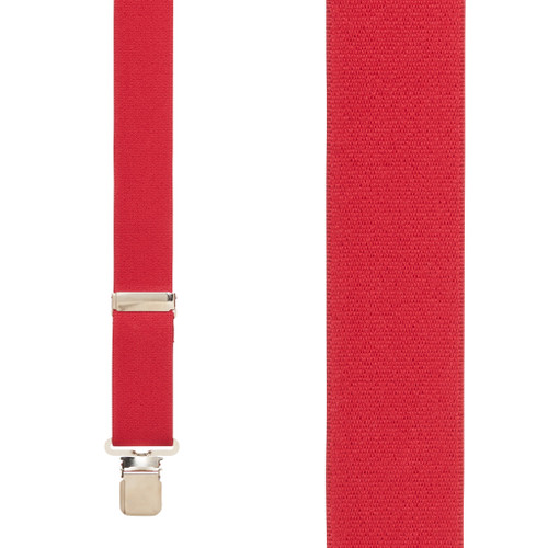 Front View - 1.5 Inch Wide Construction Clip Suspenders - RED