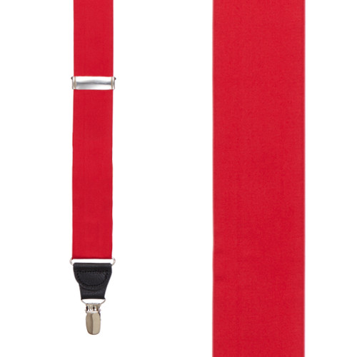 RED Bangkok Silk Suspenders - Clip - Front View