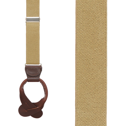 1 Inch Wide Button Suspenders in Tan - Front View