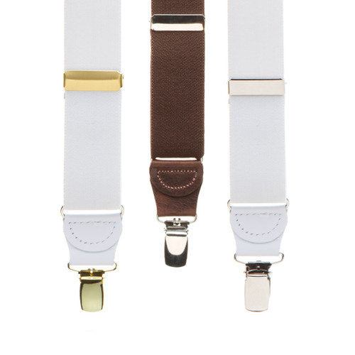 1.25 Inch Wide X-Back Clip Suspenders w/Dressy Drop Clip  - All Colors