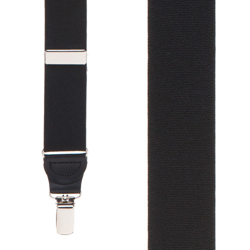 1.25 Inch Wide Y-Back Drop Clip Suspenders in Black - Front View