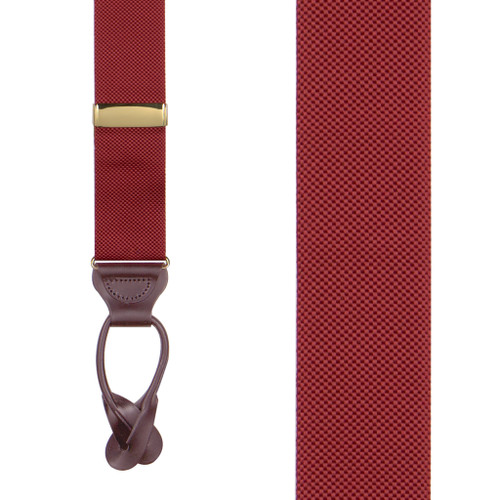 Oxford Cloth Button Suspenders in Red - Front View