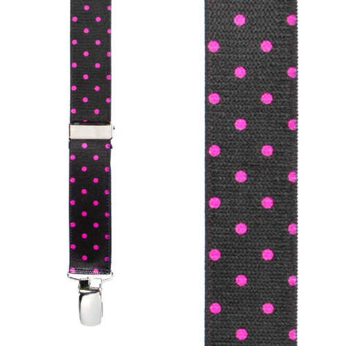 Pink Polka Dots on Black Suspenders - Front View