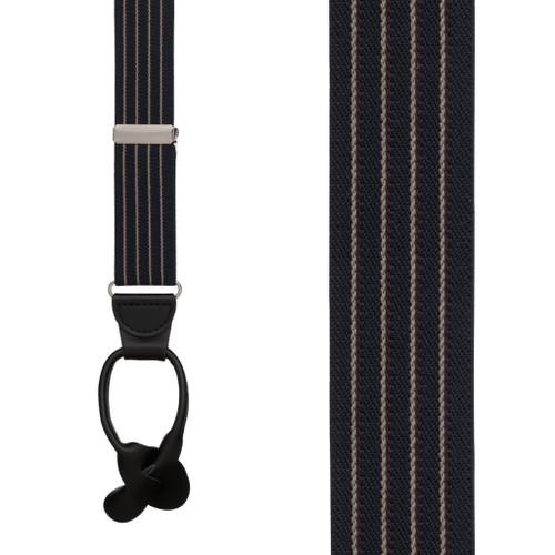 Pinstripe Elastic Suspenders in Navy - Front View