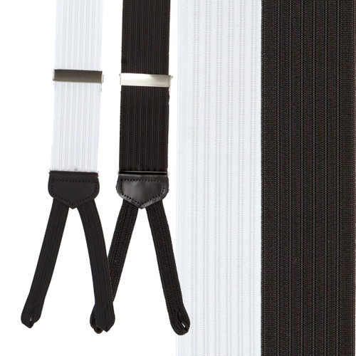 Formal Ribbed Dress Suspenders - Runner End