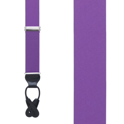 Grosgrain Button Suspenders in Purple - Front View