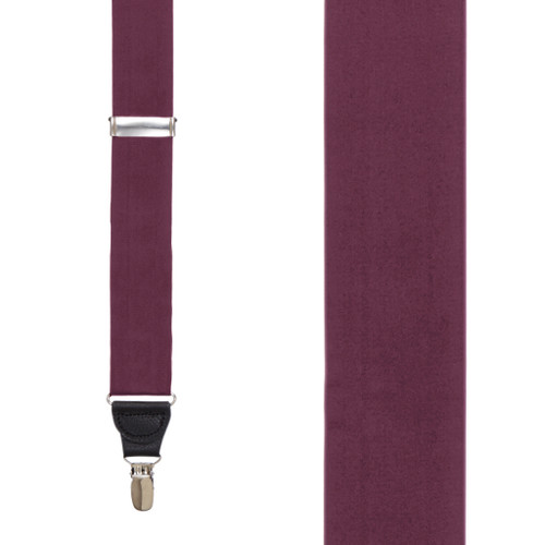Silk Clip Suspenders in Burgundy - Front View