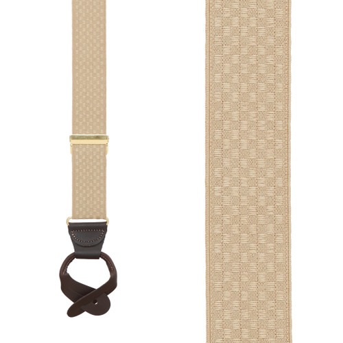Tan Jacquard Suspenders - Checkered Button