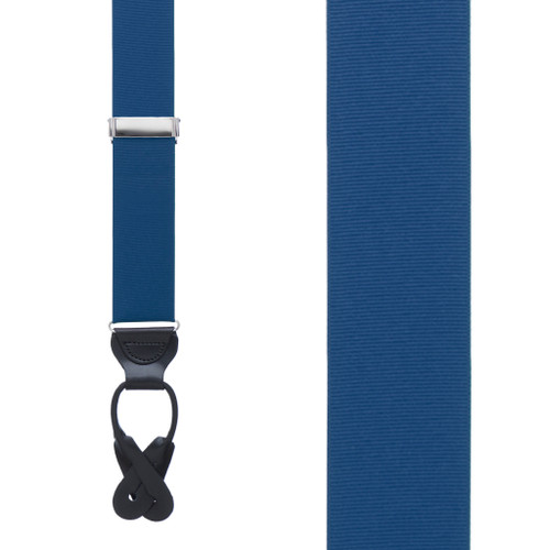 Grosgrain Button Suspenders - Navy Front View