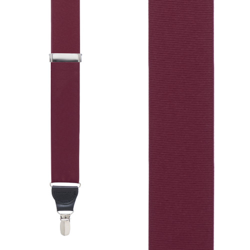 Grosgrain Clip Suspenders in Burgundy - Front View