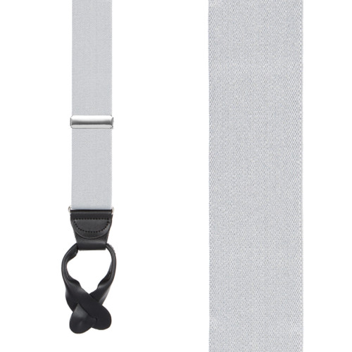 1.5 Inch Wide Button Suspenders  in Light Grey - Front View