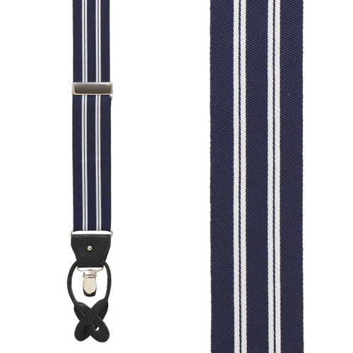 Barathea Striped Suspenders in White & Navy - Front View