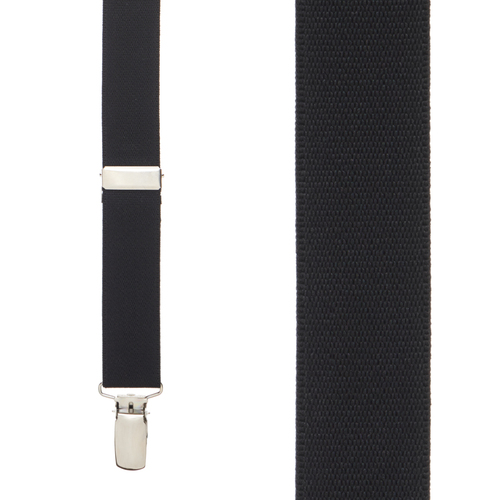 1 Inch Wide (Y-Back) Clip Suspenders in Black - Front View