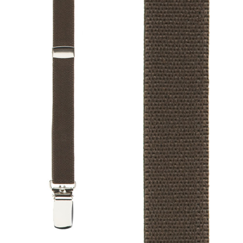 1/2 Inch Wide Skinny Suspenders in Brown - Front View