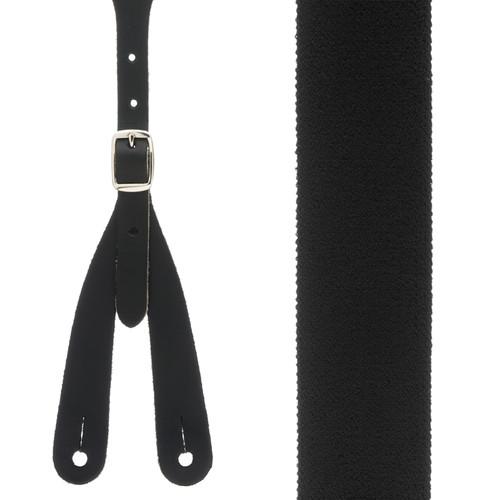 Rugged Comfort Suspenders in Black - Front View