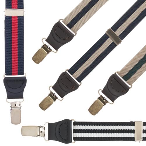 1 Inch Wide Striped Drop Clip Suspenders - All Colors
