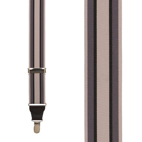 Grosgrain Clip Suspenders - Grey Stripe Front View