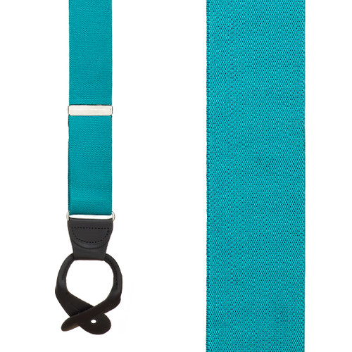 1.5 Inch Wide Button Suspenders  in Teal - Front View