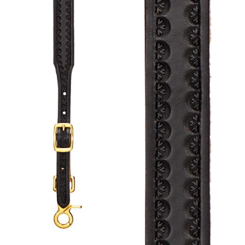 Border Stamped 1 Inch Wide Western Leather Suspenders - BLACK